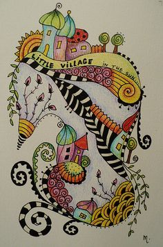 'Little Village' - zentangle illustration Doodle Art, Tangle Doodle, Tangle Art, Zen Doodle, Zentangle Drawings, Doodles Zentangles, Zentangle Patterns, Doodle Drawings, Wal Art