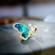 One Wing Blue Butterfly Ring Jewellery India Online - Cute rings - Requisit Gold Rings Jewelry, Cute Jewelry, Antique Jewelry, Jewelry Accessories, Jewelry Design, Jewelry Box, Jewelry Armoire, Jewelry Making, Jewelry Hooks