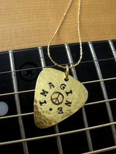 PERSONALIZED Brass Mini Guitar Pick Charm by greenleafpickcompany, $20.00