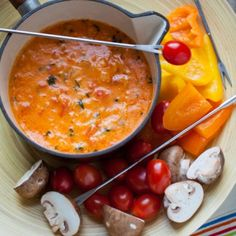 Tomato Fondue - delicious and feels healthier than plain cheese fondue!