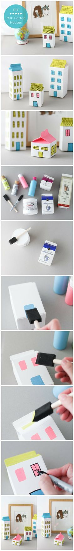 How To #Diy #Milk Carton #Houses | How #diy #Crafts
