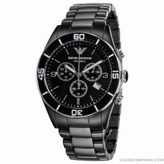 Emporio Armani Mens Ar1421 Ceramic Black Chrnongraph Dial Watch