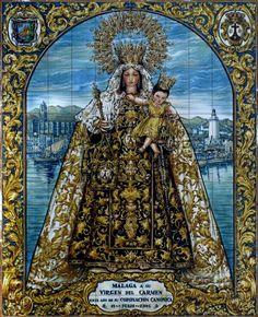 Retablo Cerámico a Ntra Sra del Carmen Coronada en la Calle Ancha de Málaga. Foto: retablocerámico.net