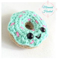 Kawaii Donut Crochet Plush from Mermaid Hooked National Donut Day, Girl Gang, Crotchet, Plushies, Donuts, Mermaid, Kawaii, Etsy Shop, Knitting