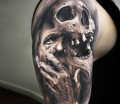 Face with Skull tattoo by Arlo Tattoos