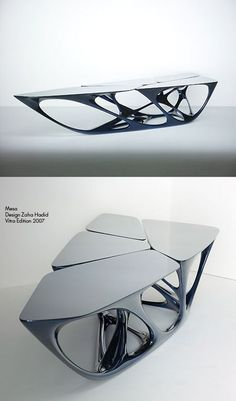 Mesa (geometric coffee table) Designed by Zaha Hadid. Vitra Edition 2007 - A Interior Design Zaha Hadid Design, Design Furniture, Unique Furniture, Funky Furniture, Painting Furniture, Plywood Furniture, Furniture Ideas, Moderne Pools, Futuristic Furniture