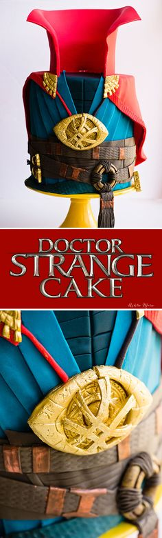 a full video tutorial for making this marvel doctor strange fondant cake - complete with the eye of agamotto and the cloak of levitation