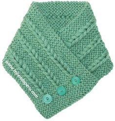 Cuello con trenzas de vainilla - Tejiendo Perú Knitting Patterns Free, Knit Patterns, Free Pattern, Neck Warmer, Baby Shower, Hats, Accessories, Scarfs, Ideas Para