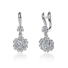 S925 Diamond Snowflake Earrings (65 NOK) ❤ liked on Polyvore featuring jewelry and earrings