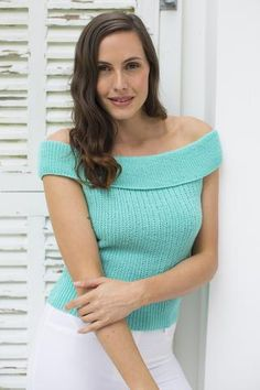 Women's off-the-shoulder Bardot sweater with short sleeves. Shop this pattern at The Knitting Network