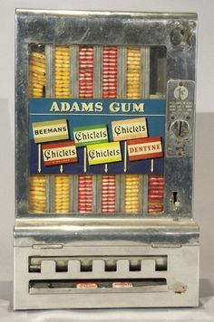 Vintage Chicklets vending machine taken from NYC subway