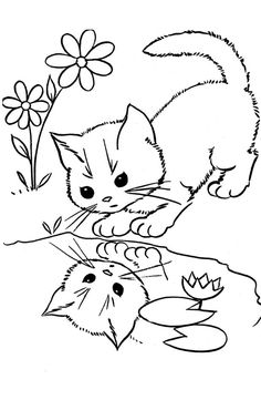 Cat Coloring Pages; Here is a small collection of cute cat coloring pages for kids that will ensure your that he has an amusing time as he remembers his favorite furry little friend.