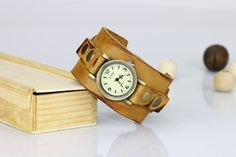 Beige leather cuff watch Distressed leather Wrist watch women Vintage leather watch light brown Birthday gift for her Bracelet watch