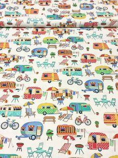Nutex Patchwork quilten Fabric - Caravans, kamperen op crème wegkomen