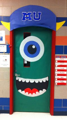 Mike Wazowski! October Door decor... Can you see his retainer? Haha my boy's idea!