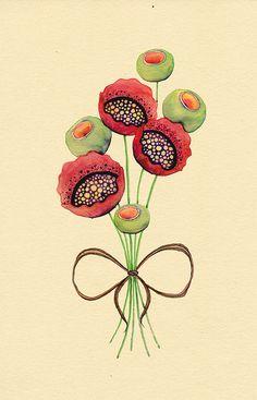 Crimson Kisses by Colleen Parker Watercolor Landscape, Watercolor And Ink, Watercolor Flowers, Watercolor Paintings, Watercolours, Art Floral, Plant Illustration, Doodle Drawings, Flower Art