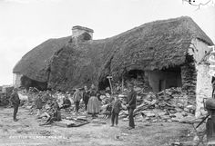 c. 1888 Mathias McGrath's home in Moyasta, County Clare after destruction by a battering ram.