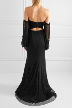 Rebecca Vallance - Orlando Off-the-shoulder Point D'esprit And Crepe Gown - Black - UK12