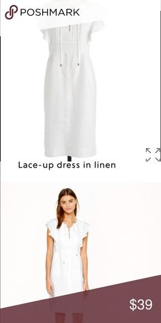 NWT J Crew Lace Up Dress in Linen 8 Straight silhouette. Side zip. Linen. Lined. Fluttery sleeves. Tags have been marked to prevent store returns J. Crew Dresses Mini