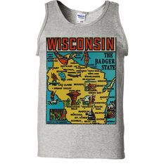 Vintage State Sticker Wisconsin Asst Colors Tank Top - California Republic Clothes