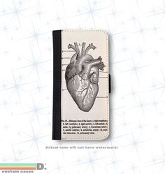 Vintage Medical Illustration, Heart Leather Wallet Phone Case for iPhone 6, 6s and 6+ and 6+s, Leather case, Wallet Case