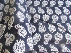 Pure Cotton Indian Fabric Block Print Style by EcoFabricStore Indian Fabric, Paisley Print, Fashion Prints, Indigo, Floral Prints, Textiles, Black And White, Trending Outfits, Store