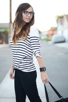 Black jeans, stripes, and blue shoes!