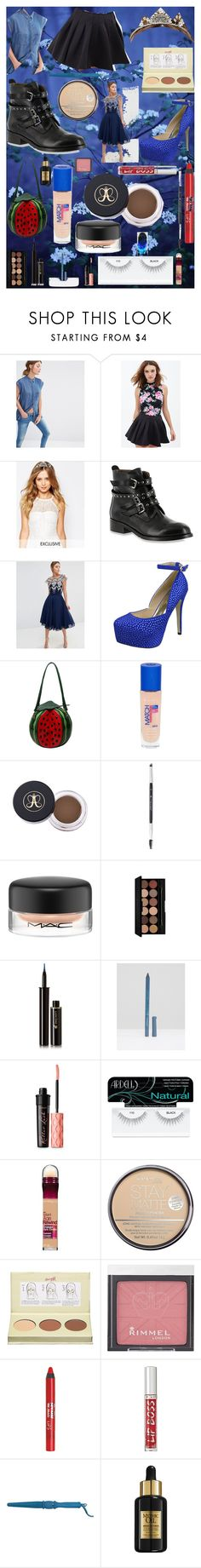 """""""GET THE LOOK: Evie #DisneyDescendants Makeup Hair & Outfits"""" by oroartye-1 on Polyvore featuring Oasis, Forever 21, Olivia the Wolf, Bella Vita, Chi Chi, Chicnova Fashion, Rimmel, Anastasia Beverly Hills, MAC Cosmetics and Lancôme"""