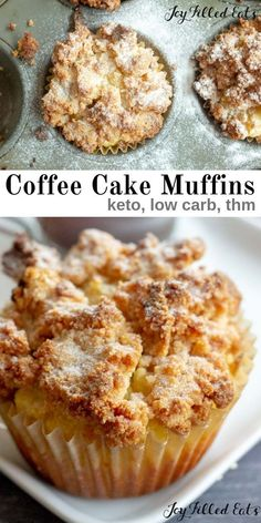 Keto Coffee Cake Muffins are a delicious breakfast, dessert, or afternoon snack. My low carb coffee cake muffins are great with your coffee any time of day! Keto Desserts, Keto Snacks, Keto Sweet Snacks, Carb Free Snacks, Best Low Carb Snacks, High Protein Desserts, Best Low Carb Bread, Sugar Free Snacks, 90 Second Keto Bread