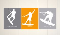 Wakeboarding room decor, wakeboarding wall art, motivational boys art, sports art for boy, water sports, set of 3, custom colors by PicabooArtStudio