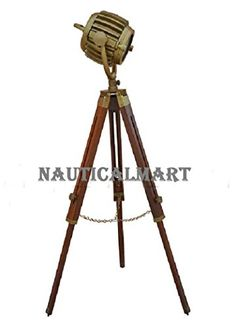 Antique Floor Searchlight Spot Studio Tripod Floor Lamp by NauticalMart Industrial Floor Lamps, Vintage Industrial, Tripod, It Is Finished, Lights, Amazon, Antiques, Search, Design