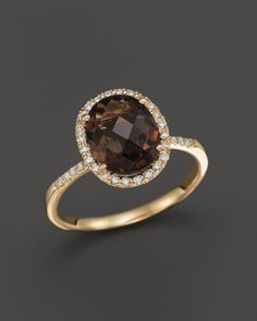 Smokey Topaz and Diamond Halo Ring in 14K Yellow Gold