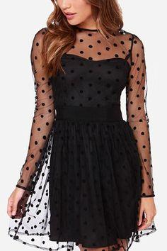 Black Polka Dots A-line Long Sleeve Dress