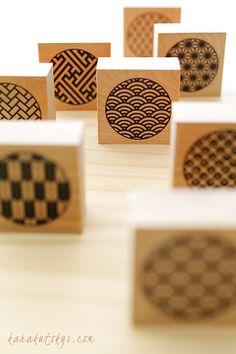 Japanese Stamp, Japanese Art, Eraser Stamp, Clay Stamps, Handmade Stamps, Japan Design, Japanese Patterns, Tampons, Mail Art
