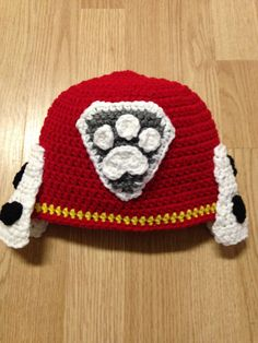 Paw Patrol Marshall Crochet Hat by JessicaSayreCrochet on Etsy Crochet Animal Hats, Crochet Kids Hats, Crochet Beanie, Quick Crochet, Free Crochet, Crochet Paw Patrol Hat, Marshall Paw Patrol, Crochet Character Hats, Knitting Patterns