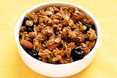 Crunchy Granola:      Ingredients:    5 cups rolled oats   1/2 cup ground flax seed (optional)   2 to 3 cups raw almonds or pecan halves, or a mixture   ¾ cup light brown sugar   1 Tbsp. ground cinnamon   1 tsp. ground ginger   1 tsp. salt   1 cup unsweetened apple sauce   1/2 cup honey   2 tsp. vanilla   2 tbsp. vegetable oil   1 cup. favorite dried fruit (cherries, cranberries, raisins, apricots, etc.)