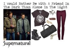 """I Would Rather Be With A Friend In The Dark - Supernatural"" by alyssaclair-winchester ❤ liked on Polyvore featuring Rebel Yell, Steve Madden, Linea Pelle, Topshop, supernatural, samwinchester and DeanWinchester"