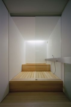 Architecture, Wood Bathroom Design With White Interior Design And Wood Bathtub Tray And Glass Divider Plus Laminated Wooden Floor: The Terri. Minimal House Design, Minimal Home, Modern Design, Minimal Style, Interior Minimalista, Japanese Bathroom, Modern Bathroom, Wood Bathroom, Bathroom Fixtures