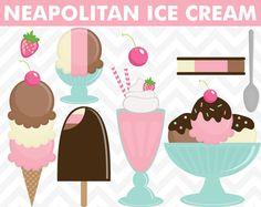 Clipart Neapolitan Ice Cream Summer Clip Art Set