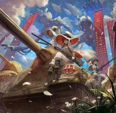 久々にオリジナル絵 魔女×戦車が描きたかったんです。