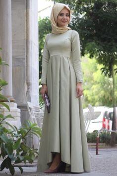 Nur Banu Çağla Yeşili Zümra Tesettür Abiye Elbise