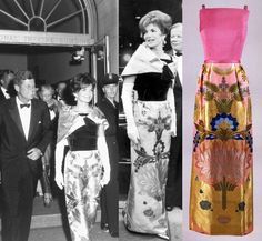 Pink & Gold Evening Dress, Designer: Joan Morse for A la Carte, 1962, Sleevless evening dress with hot pink silk organza bodice and metallic-brocaded silk organza straight skirt.  Mrs. Kennedy had the skirt made from a brocade fabric given to her by King Saud of Saudi Arabia. The dress was worn by First Lady Jacqueline Kennedy in 1962. http://www.jfklibrary.org/Asset-Viewer/f2k6CQ8f9UCHVvH85LVKYA.aspx