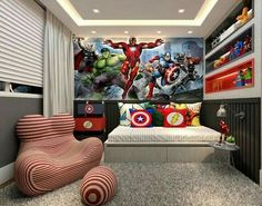 Most Wanted Kids Bedroom with Superhero Themed Boys Superhero Bedroom, Boy Toddler Bedroom, Boy Room, Kids Bedroom, Bedroom Small, Bedroom Modern, Toddler Boys, Boys Bedroom Furniture, Boys Bedroom Colors