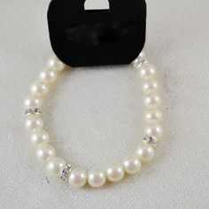 Pearls Design Rhinestone Decor Elastic Bracelet
