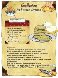 Galletas de queso crema Easy Cookie Recipes, Sweet Recipes, Dessert Recipes, Tea Cakes, Biscotti, Choco Chips, Food Illustrations, Cupcake Cookies, Cakes And More