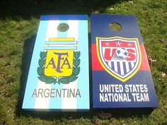 Argentina Soccer and USA National Soccer team Cornhole Boards