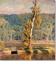 daniel garber paintings | ... Lone Sycamore 1940 - Bucks County - 56x52 by Daniel Garber | Painting