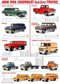 New 1956 Chevrolet Task•Force Trucks.
