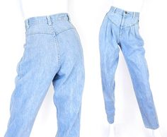 Vintage 80s 90s High Waisted Pleated Mom Jeans by SadieBessVintage