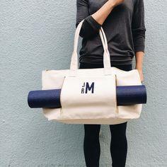 Transporting your yoga mat never looked so good. #mondaymotivation #mymarkandgraham #yoga #onthego #monogram